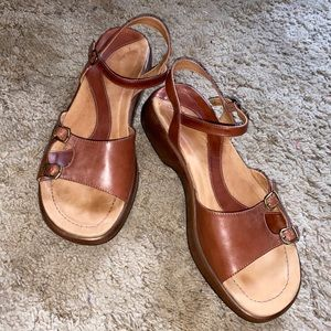 Dansko Tan Sandals with Leather Upper